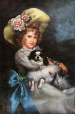 Quality Hand Painted Oil Painting Girl with Puppy 24x36in