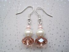 PEACHES & CREAM PEARL BLUSH FACETED CRYSTAL GLASS RONDELLE Glitzy Drop Earrings