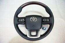 STEERING WHEEL TOYOTA HILUX REVO 2015 GENUINE BROWN WOOD BLACK LEATHER