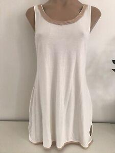 La Perla Studio Singlet Camisole Sleepwear Ivory Pink Trim NWT EU 2 AU 10 Small