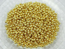 Gold Silver Gunmetal Rose Plated Over Copper Round Loose Spacer Metal Beads 4mm