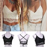 New Women Cross Strappy Lace Bra Tank Tops Bustier Vest Crop Top Bralette Blouse