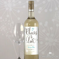24 Feather Whimsy Personalized Wedding Wine Bottle Labels