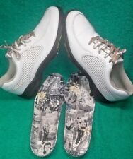 Footjoy Comfort womens cleated golf shoes size 7.5 N White retro graphic insoles
