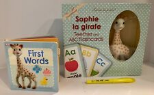 New~Sophie La Giraffe Teether & Flashcards Set with Bonus Book-ship free