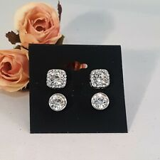 Brilliant Silver Place CZ Stud Earring Set of 2