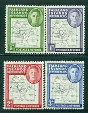 FALKLAND ISLANDS DEPENDENCIES 1L1-4 SG#G9-12 MH 1948 KGVI Map short Fine Cat$40