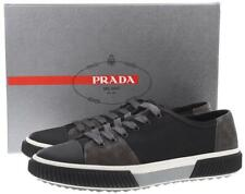 NEW PRADA MEN'S BLACK GRAY LEATHER SUEDE LOW TOP SNEAKERS SHOES 9.5/US 10.5