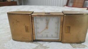 Vintage 1960s German SEMCA, Swiss 7 Jewels Travel Alarm Clock w/ Collapsing Case