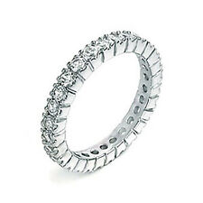 Sterling Silver CZ Women's Eternity Wedding Band Ring Size 5-9