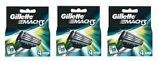 12 X Gillette Mach 3 Cuchillas (3 X 4 Pack) - Original Stock!!!