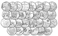 London 2012 All Olympic 50p Coins incl Triathlon Football Judo Wrestling Hockey