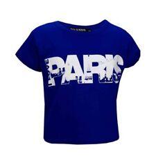 T-shirts, hauts et chemises bleu col rond en polyester pour fille de 2 à 16 ans