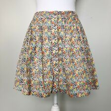 Free People Womens Skirt Floral Pleated Button Front Mini Pockets Lined Small 4
