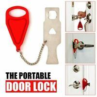 2 x Portable safety door lock Hotel Door blocker Anti-theft lock Easy Install 4C
