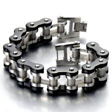 "Stainless Steel Silver Black Two-tone 9"" Masculine Mens Bike Chain Bracelet of"