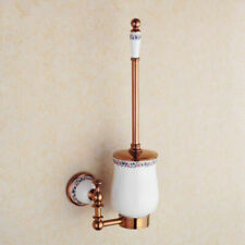 Bathroom Rose Gold Wall Mount Hanger Toilet Brush Holder Ceramic Cup Shelf Brass