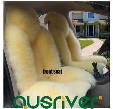 Beige Premium Quality 4Pcs Australian Sheep Skin Car Long Wool Seat Cover Set