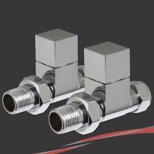 Square Head Chrome Straight Valve Set for Radiators & Towel Rails (Pair) OFFER!