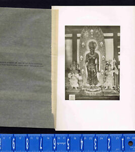Bronze Statue of the Moon Deva (Gekko) -1902 Japan Lithograph