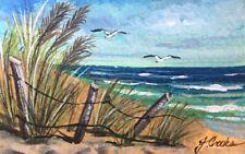 ACEO ATC Ocean Beach Landscape Original Painting Gouache Miniature By J.Crooks