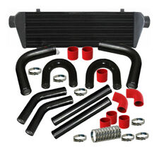 "28"" Turbo Jdm Intercooler+2.5"" Aluminum Black Piping U-Pipe Kits W/ Red Couplers"