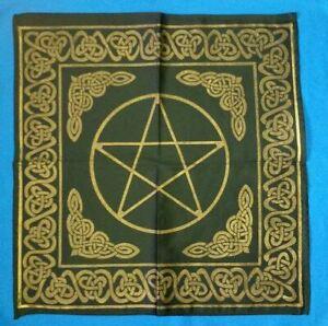 Altartuch Celtic mit Pentagramm und kleltischen Knoten schwarz-gold 2. Wahl