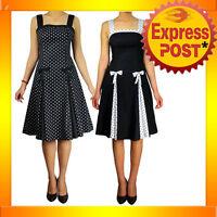 RK75 Pleated Black Polka Dot Summer Dress Rockabilly Swing Pin Up Retro 50s Bows