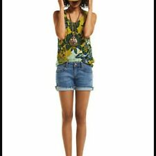CAbi #286 Bali Floral Tank Top Silk Blend Yellow Blue Print Sleeveless Shirt S