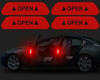 Red 4PCS Super Car Door Open Sticker Reflective Tape Safety Warning Decal COOL