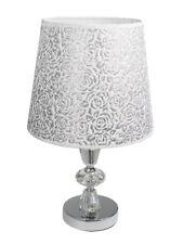 Lume da comodino moderno abat jour lumetto da tavolo acciaio paralume glitter