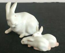 2pcs Royal Copenhagen and Bing Grondahl Rabbit and Two Bunnies Figurines Mint