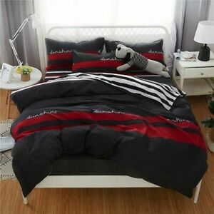 Red Stripes Bedding Set Business Duvet Cover Quilt Cover Bed Sheet Pillow Cases