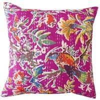 40cm BIRD PRINT CUSHION COVER India Kantha Cotton Throw PILLOW PINK AUS SELLER