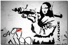 "BANKSY STREET ART CANVAS PRINT Da Vinci Mona Lisa Rocket 16""X 12"" poster #2"