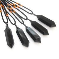 Natural Obsidian Double Point Pendant Healing Reiki Stone Necklace Fengshui Gift