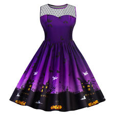 Women Plus Size Halloween Retro Lace Panel Dress A Line Swing Dress