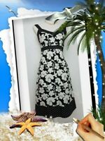 Next Sundress Sz 12 Black white floral Cotton empire waist A line knee lengt VGC