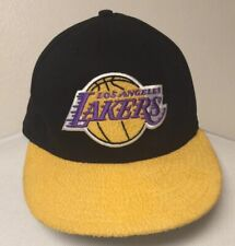 Los Angeles Lakers Snapback Hat Logo Athletic NBA Textured Yellow Bill Black Cap
