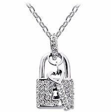 18K White Gold Plated Pave Austrian Crystals Lock Key Pendant Delicate Necklace