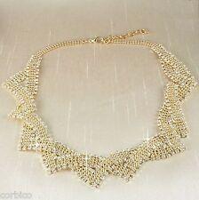 N5 Vintage Estilo Plateado Oro Strass Cristales Collar de Declaración