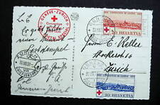SWITZERLAND PC RED CROSS STAMPS WITH SPECIAL CONVENTION CANCELLED 1939