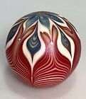 Vtg. 1978 Studio Art Glass Paperweight Unknown Signature Signed Pulled Feather