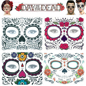 Day of the Dead Face Mask Temporary Tattoo Transfer Halloween Sugar Skull Mexico