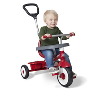 Radio Flyer EZ Fold 4-in-1 Stroll 'N Trike Infant Toddler Stroller Tricycle, Red