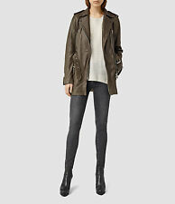 NWT AllSaints Amison Dark Khaki  Leather Coat $725 Size US 0