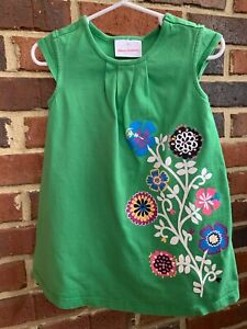 HANNA ANDERSSON DRESS 3 90 GREEN GRAPHIC FLOWERS COTTON KNIT