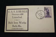 NAVAL COVER 1940 DUPLEX CANCEL LAUNCHING USS EBERLE (DD-430) (4012)