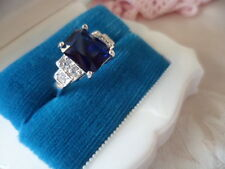 Antique Art Deco Vintage White Gold Ring Sapphire Blue and White Stones size 8 Q