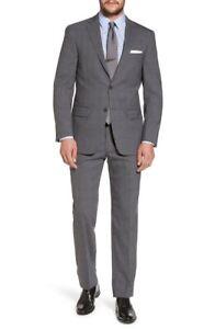 Hart Schaffner Marx 155652 Men's Classic Fit Stretch Plaid Wool Suit Sz. 46